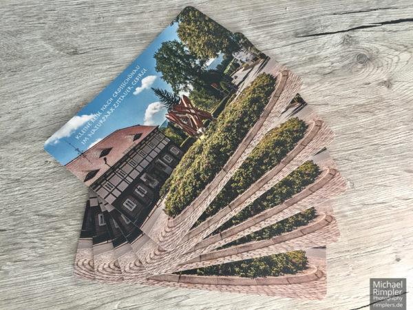 großschönau, postkarte, weberschiffchen, umgebindehaus, kreisverkehr,