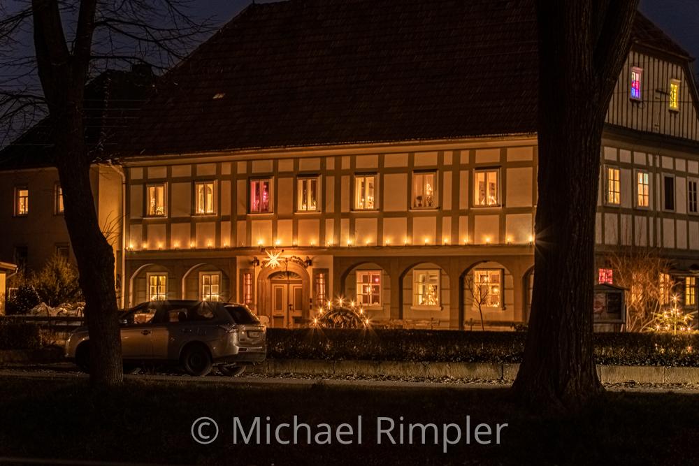 weihnachten, weihnachtsstimmung, weihnachtsbeleuchtung, umgebindehaus, großschönau, textildorf, naturpark, zittauergebirge, oberlausitz, fotos, bilder