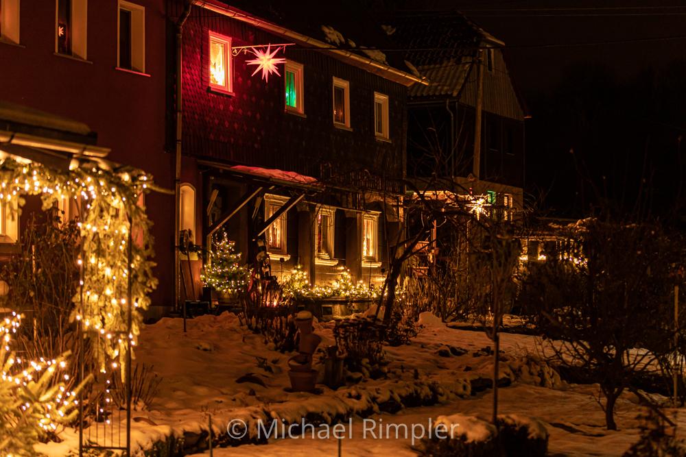weihnachten, weihnachtsstimmung, weihnachtsbeleuchtung, umgebindehaus, hainewalde, naturpark, zittauergebirge, oberlausitz, fotos, bilder